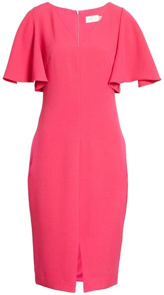 Eliza J flutter sleeve sheath dress | 40plusstyle.com