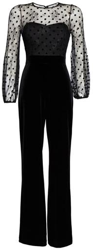 Eliza J mesh and velvet jumpsuit | 40plusstyle.com
