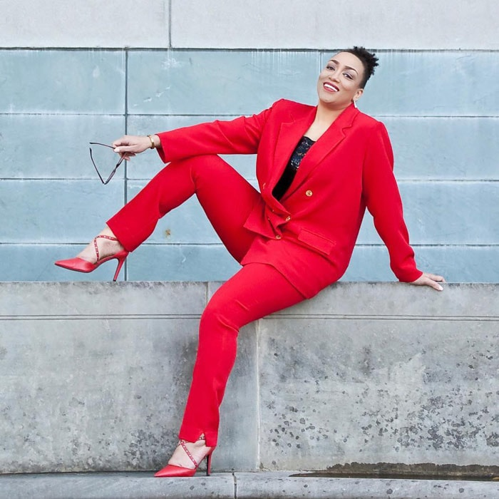 Style blogger Erica Bunker looks stylish in an all-red outfit   40plusstyle.com