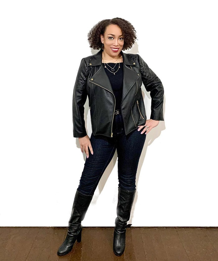 Blogger Erica shows why leather jackets are stylish options for women over 40 | 40plusstyle.com