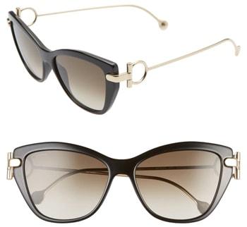 Salvatore Ferragamo 55mm Cat Eye Sunglasses | 40plusstyle.com