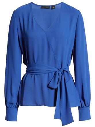 Stylish clothes for women over 40 - Halogen faux wrap blouse | 40plusstyle.com