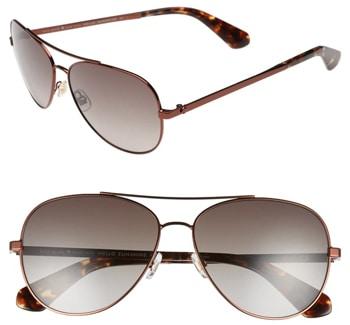 Kate Spade New York 58mm aviator sunglasses | 40plusstyle.com
