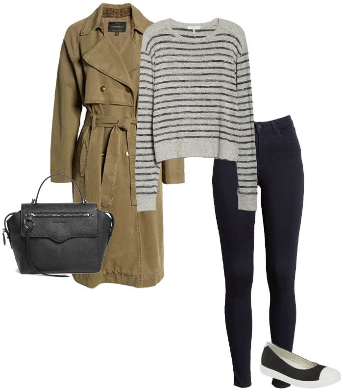A trench coat, breton top, skinny jeans and ballet flats | 40plusstyle.com