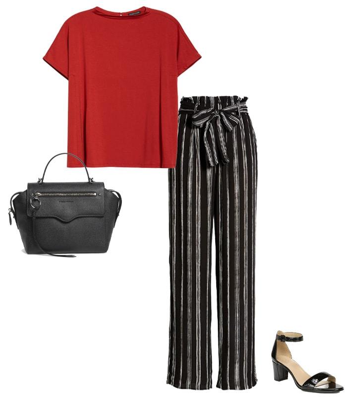 Printed pants, a plain top & sandals | 40plusstyle.com