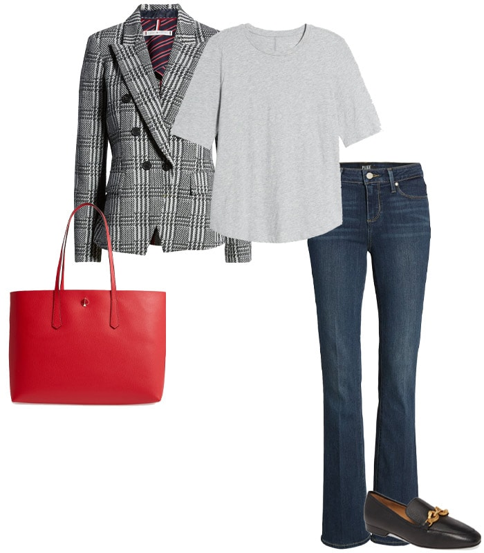 Bootcut jeans, a tee, a blazer & loafers | 40plusstyle.com