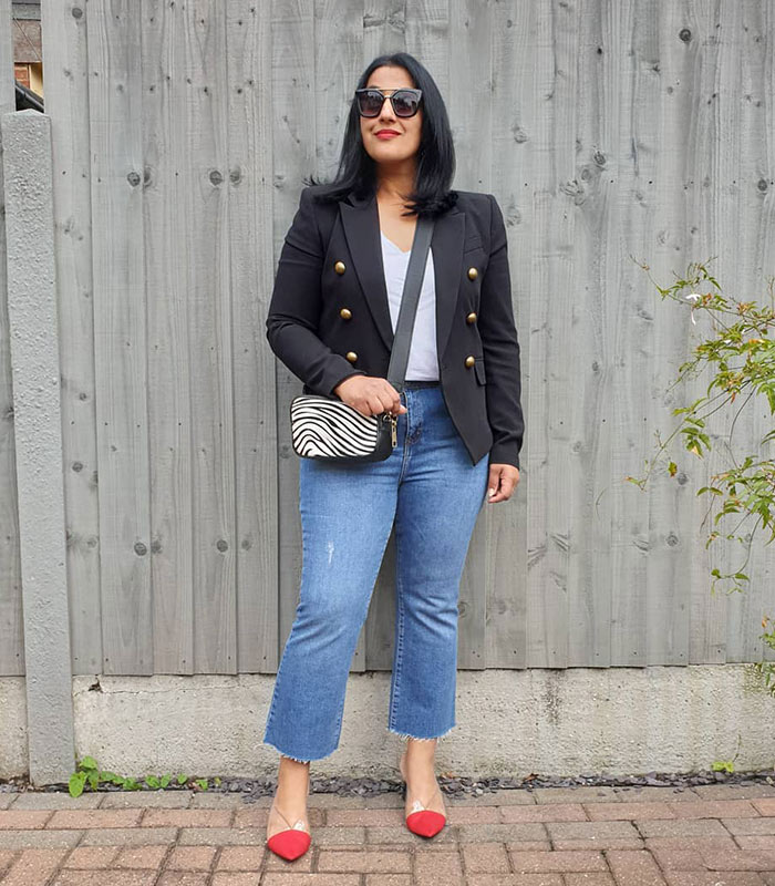 how to wear a double-breasted blazer with denim | 40plusstyle.com