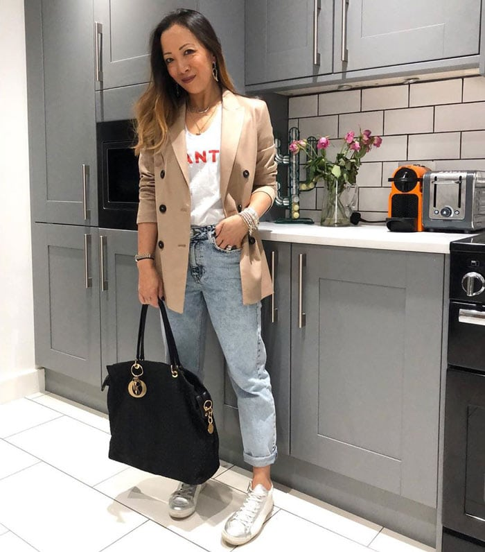 wearing boyfriend jeans with a double-breasted jacket | 40plusstyle.com