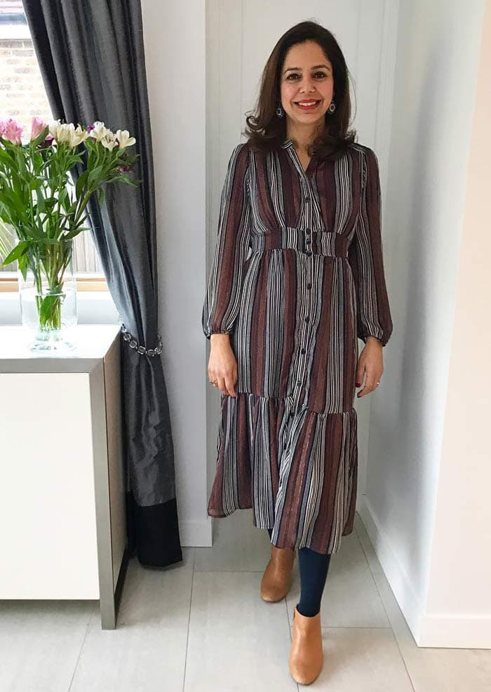 wearing a striped shirtdress over leggings | 40plusstyle.com