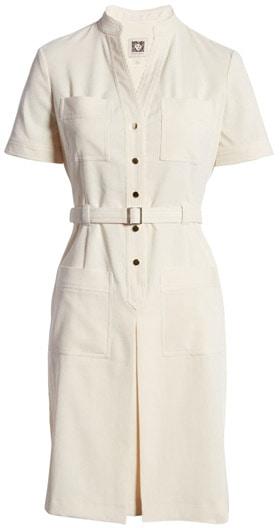 Anne Klein corduroy belted shirtdress | 40plusstyle.com
