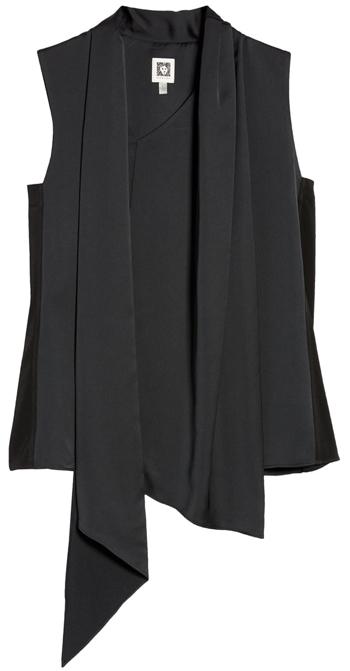 Anne Klein asymmetrical scarf blouse | 40plusstyle.com