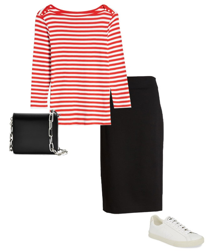 stripe top, black skirt and sneakers outfit | 40plusstyle.com