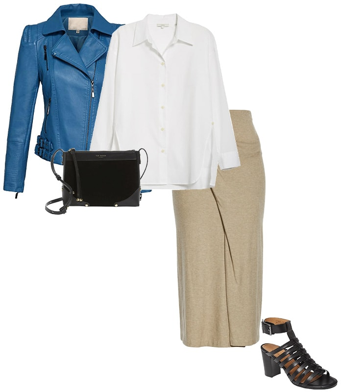 blue goes well with beige | 40plusstyle.com