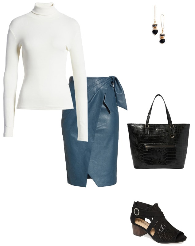 a leather wrap skirt worn with a turtleneck | 40plusstyle.com