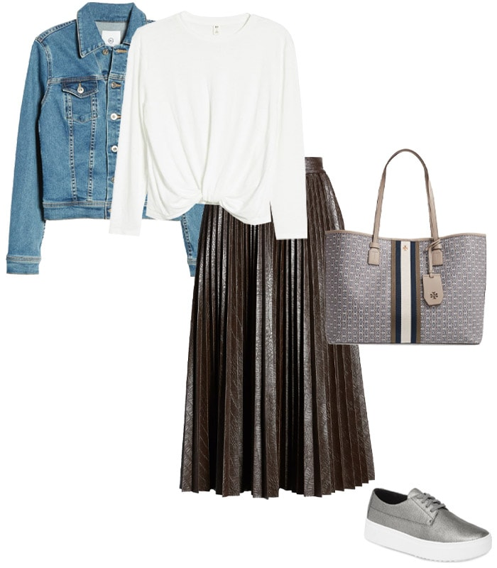 pairing a leather skirt with a denim jacket | 40plusstyle.com