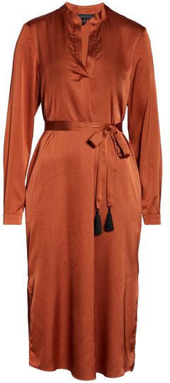 Forest Lily satin shirtdress | 40plusstyle.com