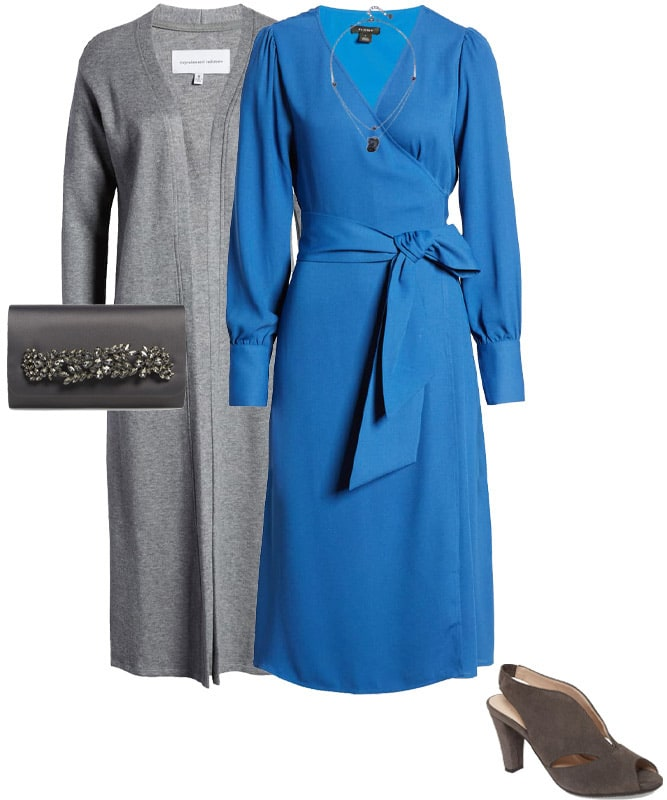 Outfit combining gray with blue | 40plusstyle.com