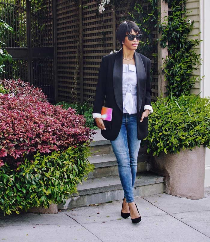 wearing a tuxedo jacket with skinny jeans | 40plusstyle.com