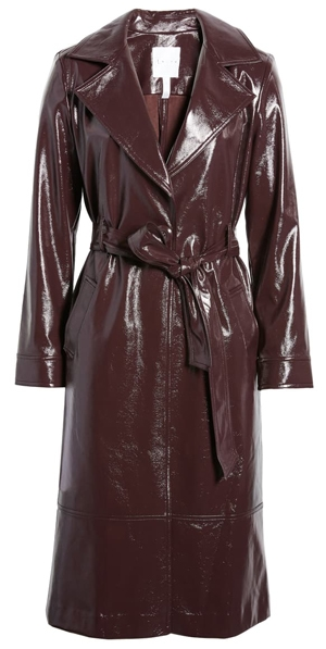 Leith Faux Patent Leather Trench Coat | 40plusstyle.com