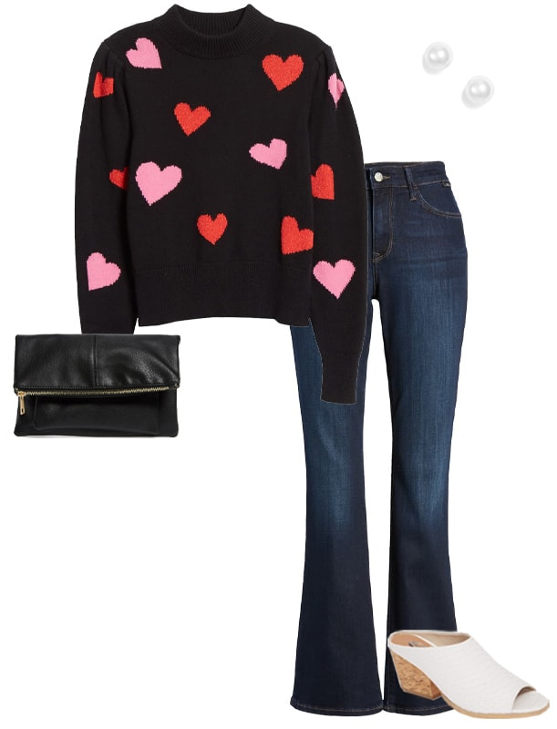 How to dress for Valentine's day with a sweater and jeans | 40plusstyle.com
