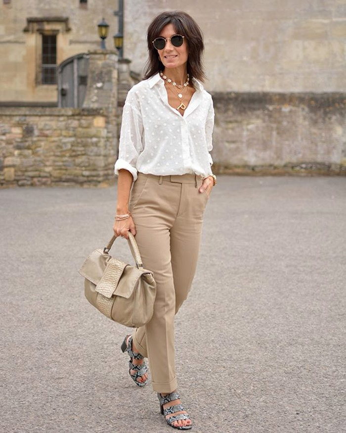 wearing camel pants with white | 40plusstyle.com
