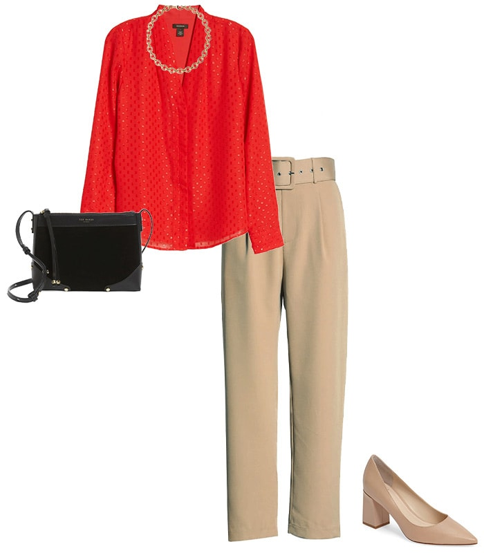 teaming a red top with nude pants | 40plusstyle.com