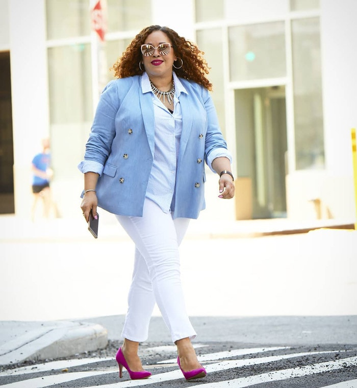wearing your blazer with white denim | 40plusstyle.com