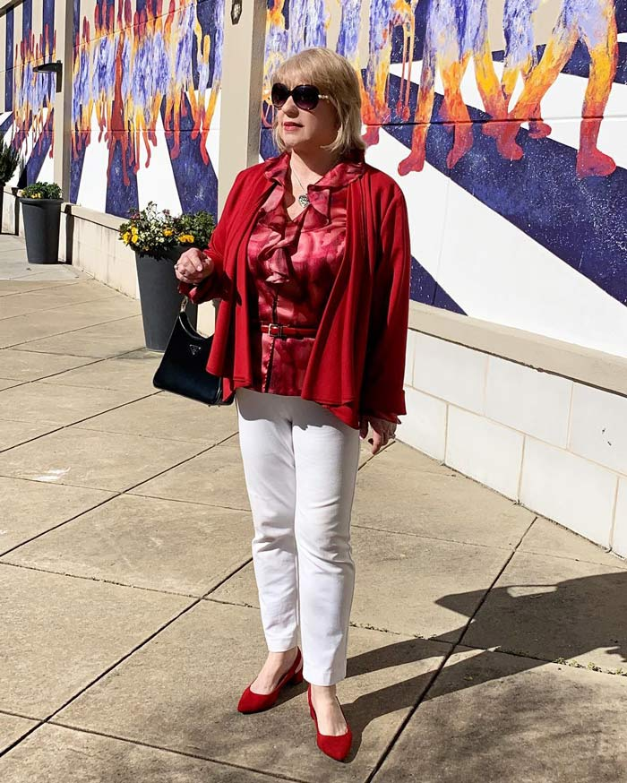 how to dress for valentines day -wearing red   40plusstyle.com