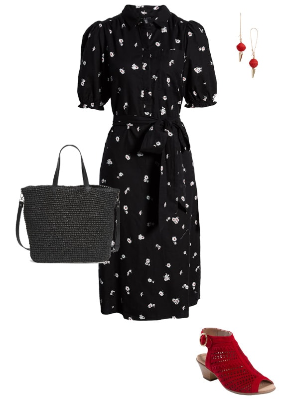 wearing shirtdress with red shoes | 40plusstyle.com