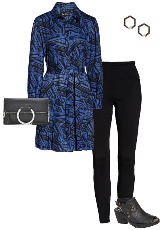 a shirtdress worn with leggings | 40plusstyle.com