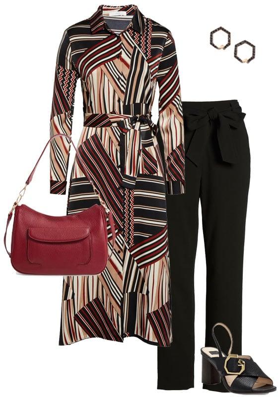 shirt dress and narrow leg pants | 40plusstyle.com