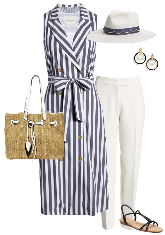 striped shirtdress with white pants for summer | 40plusstyle.com