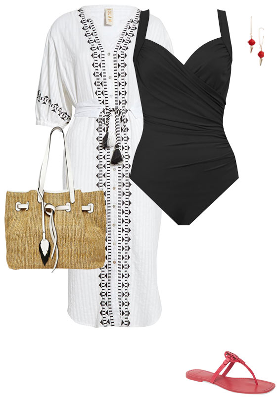 a shirtdress as a beach cover-up | 40plusstyle.com