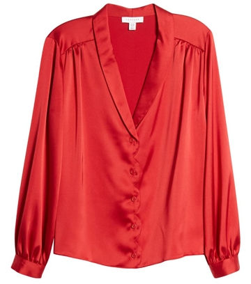 How to dress for Valentine's day - Topshop scallop satin blouse | 40plusstyle.com