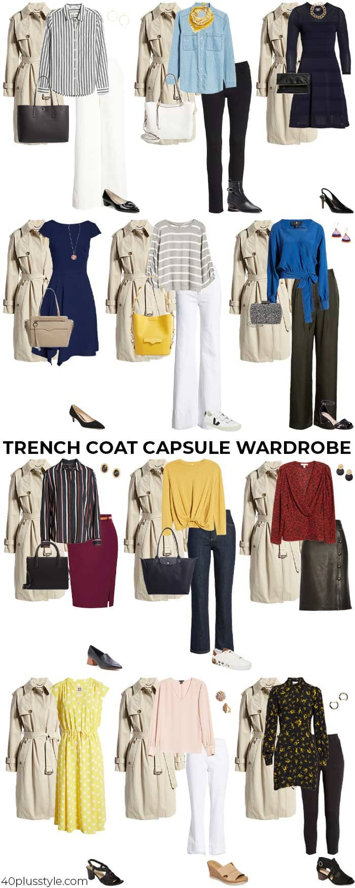 A trench coat capsule wardrobe | 40plusstyle.com