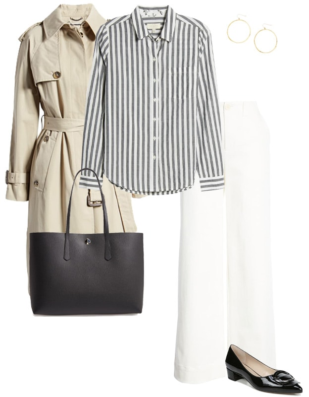 wearing a trench coat with stripes and jeans | 40plusstyle.com