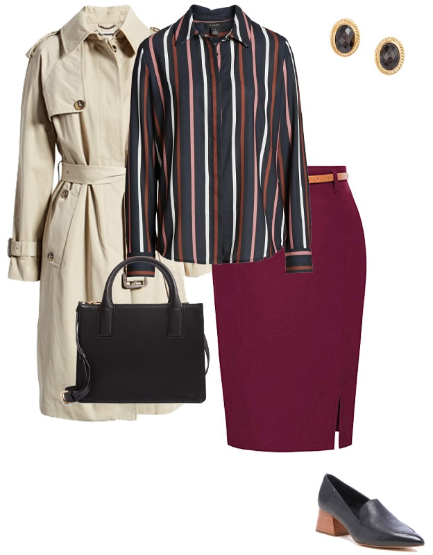 striped shirt and pencil skirt | 40plusstyle.com