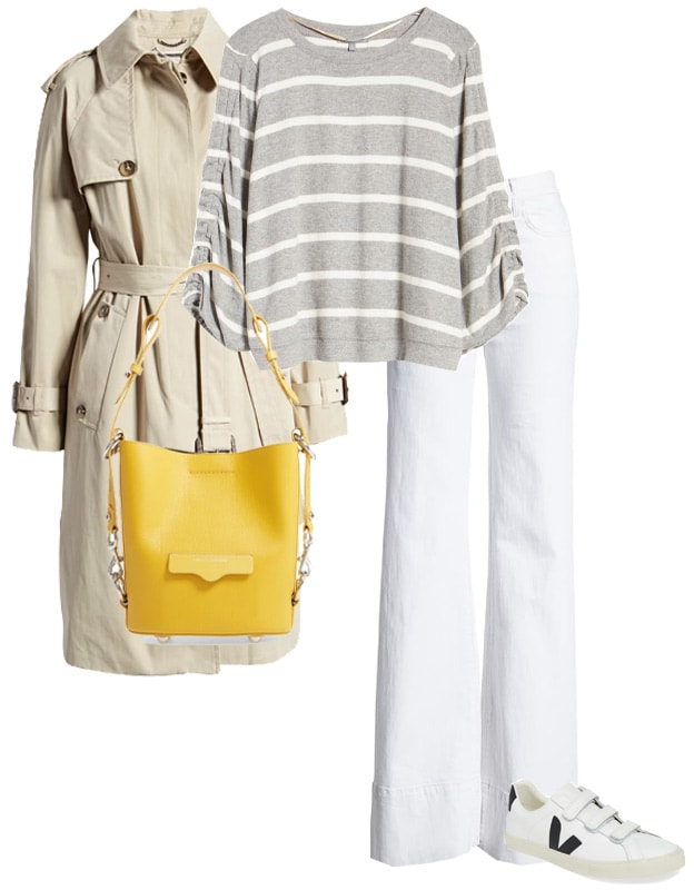 stripes and white jeans with a yellow bag | 40plusstyle.com