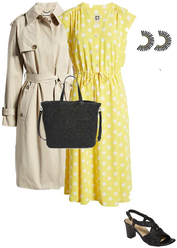 a polka dot dress outfit | 40plusstyle.com