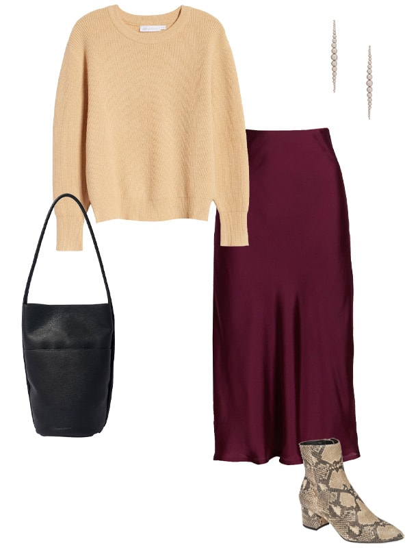 how to dress for valentines day in a neutral sweater and satin skirt | 40plusstyle.com