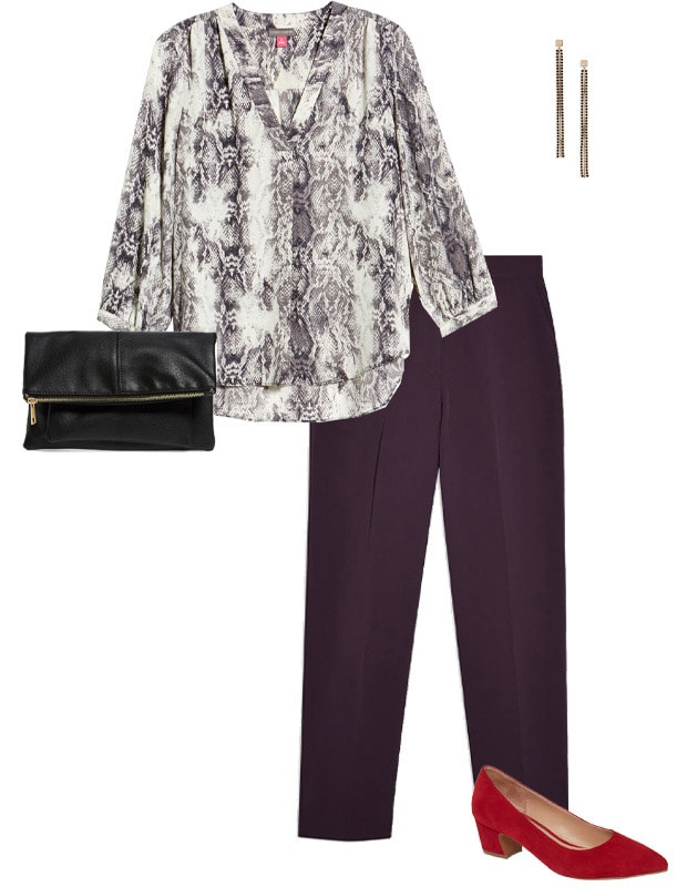 colorful pants worn with animal print | 40plusstyle.com