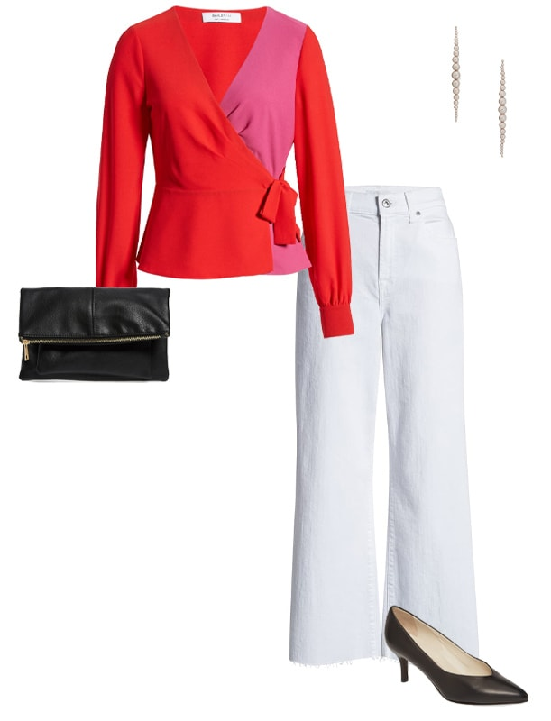 how to dress for valentines day - a wrap top worn with white jeans | 40plusstyle.com