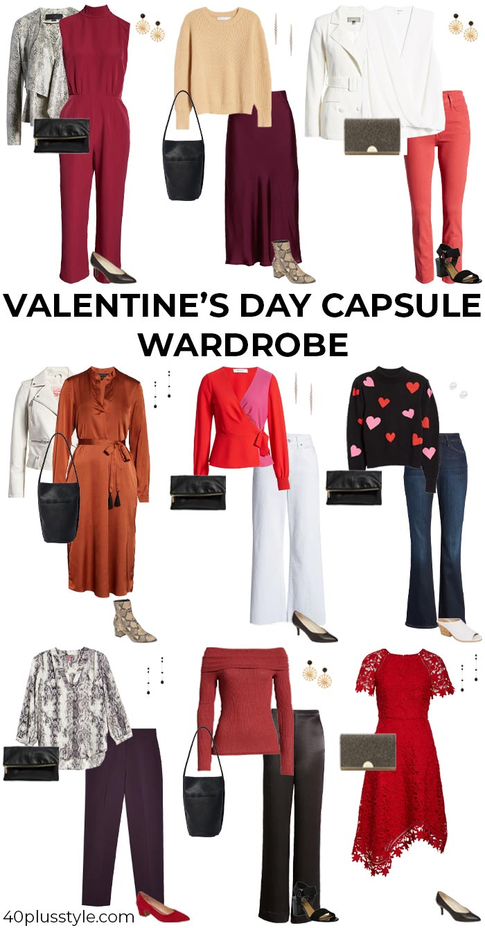 How to dress for valentines day capsule wardrobe | 40plusstyle.com