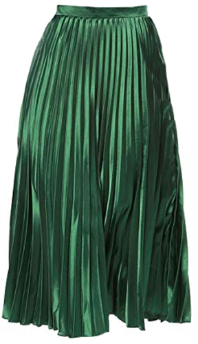Allegra K pleated metallic midi skirt | 40plusstyle.com