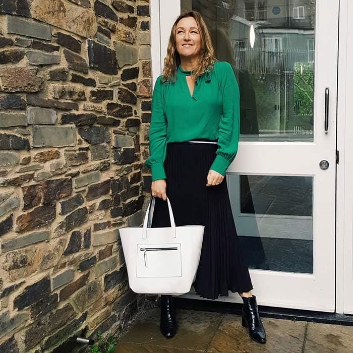 black and green outfit | 40plusstyle.com