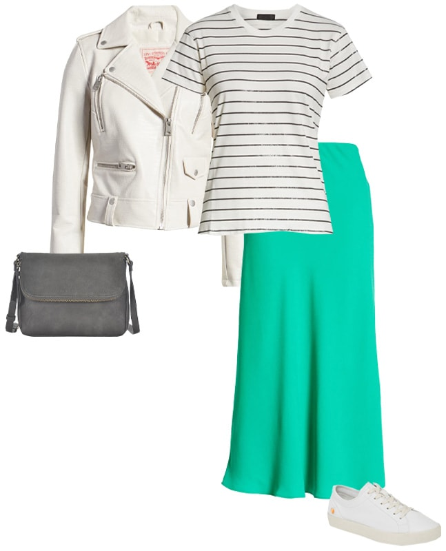 green dress with a white moto jacket | 40plusstyle.com