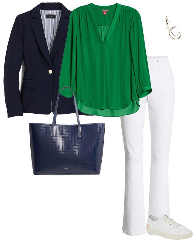 a navy, green and white outfit | 40plusstyle.com