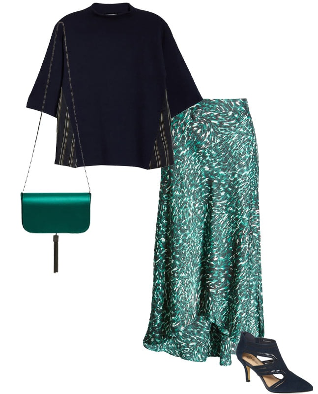 green print skirt with navy top | 40plusstyle.com