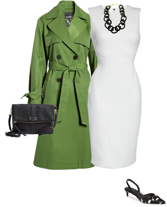 white dress and green coat | 40plusstyle.com