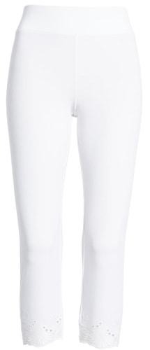 Hue eyelet hem capri leggings | 40plusstyle.com